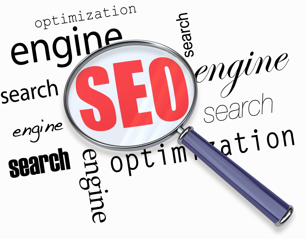 A magnifying glass hovering over several words - search, engine, optimization, focusing on acronym SEO